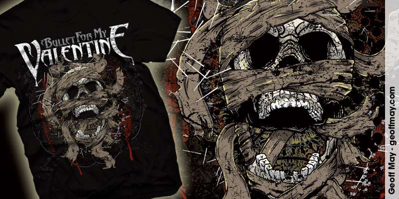Bullet For My Valentine Mummy Skull T Shirt Design By Geoff May