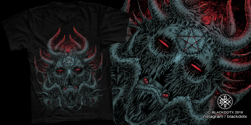 death metal artwork - T-shirt design by blackdotx - Mintees