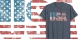 Distressed USA Patriotic Shirt American Flag Letters 4th of July Tee