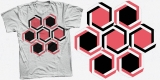 Black and red hexagonal beehive