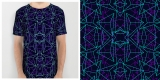 Abstract Geometric 3D Triangle Pattern in turquoise/ purple
