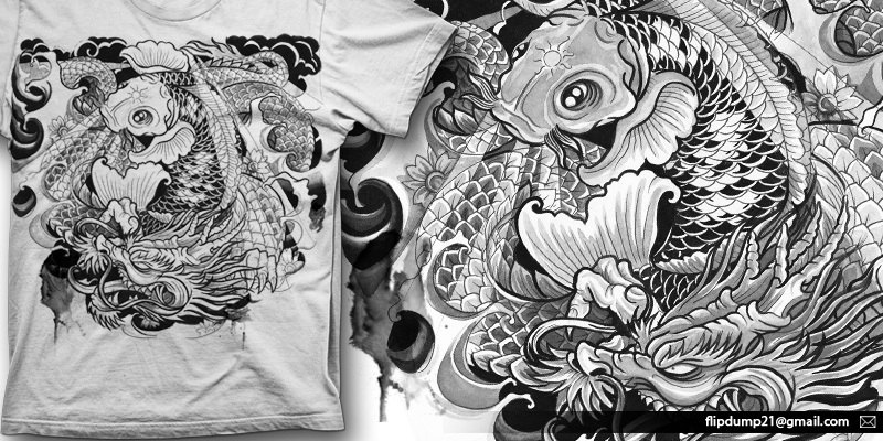 Koi vs dragon t shirt design by renov mintees for Black dragon koi