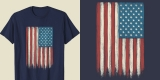 Vertical American Flag Shirt Vintage USA Patriotic 4th of July Tee
