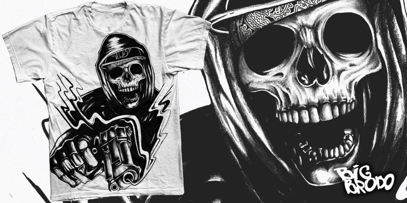 gangster skull drawings