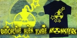 RadioActive Alien Zombie Monsters - Yellow Skull T
