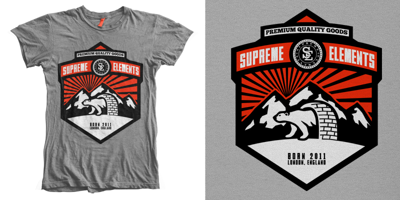 Supreme elements hibernation t shirt design by for T shirt printing design online